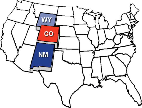 Colorado, Wyoming, New Mexico